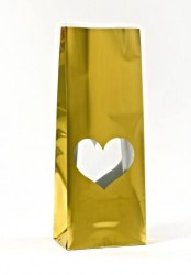 - Gold Heart Window Metalized Printed Small Bag
